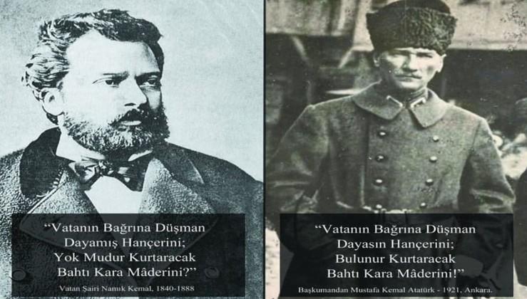 Vatan şairi Namık Kemal'e saygıyla.