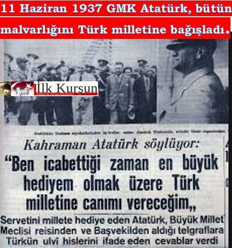 TARİHTE BUGÜN: Atatürk, bütün çiftliklerini ve mallarını millete bağışladığını açıkladı.