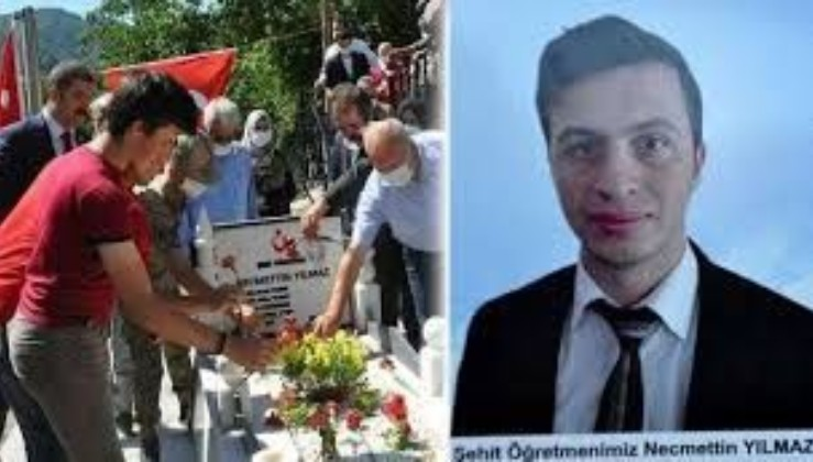 PKK'lı teröristlerce katledilen şehit öğretmen Necmettin Yılmaz kabri başında anıldı