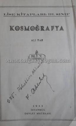Yıl 1929..  Lise 3 ders kitabı.  Adı: Kozmografya..