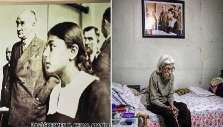 Türkçe kitaplarının kapağında gördüğümüz fotoğrafta Atatürk'ün önünde duran siyah formalı esmer kız