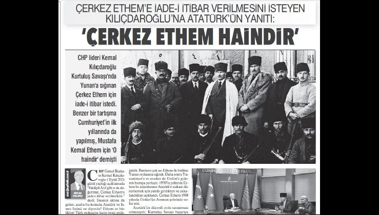Kılıçdaroğlu iade-i itibar istedi... Atatürk: Çerkes Ethem haindir