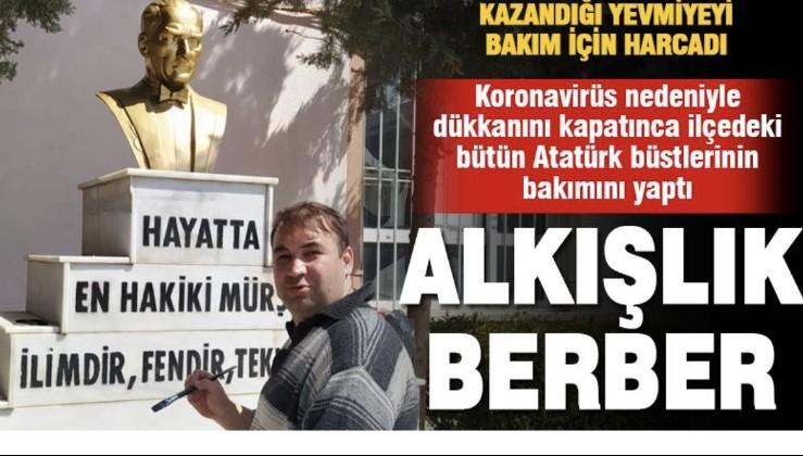 Denizli'de Dükkanını Kapatınca Atatürk Büstlerini Onarmaya Başladı