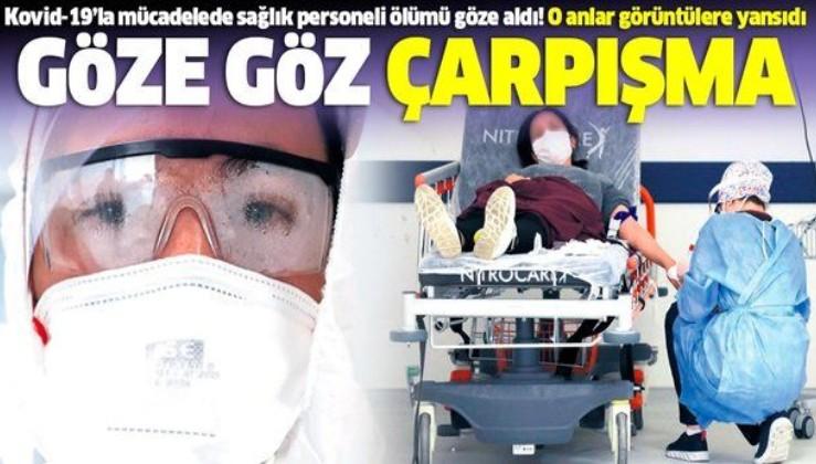 Sağlık personelinden koronavirüse (Kovid-19) karşı göze göz çarpışma