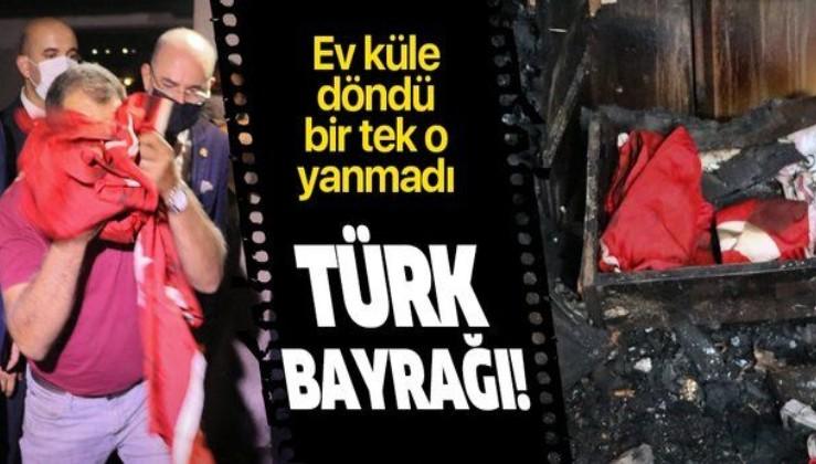 Hatay'da tüm ev yandı bir tek Türk bayrağı zarar görmedi!