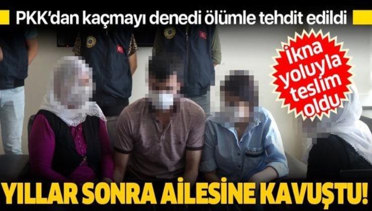 Mersin'de ikna yoluyla teslim olan terör örgütü PKK üyesi, ailesiyle buluşturuldu