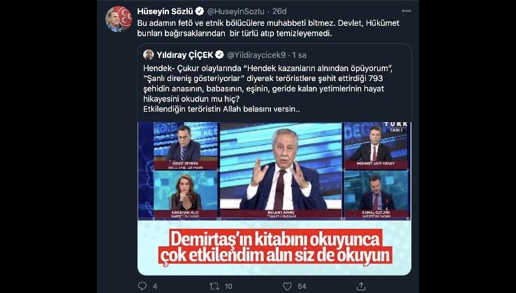 Bülent Arınç'ın Demirtaş sözleri MHP'yi çıldırttı, Ak Parti tabanında da büyük tepki: GÖREVDEN ALINSIN!