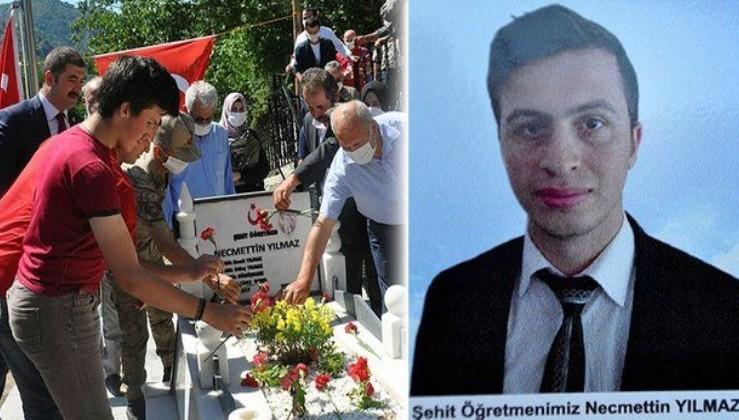 Tunceli'de terör örgütü PKK'nın, 3 yıl önce oruçluyken şehit ettiği öğretmen Necmettin Yılmaz mezarı başında anıldı