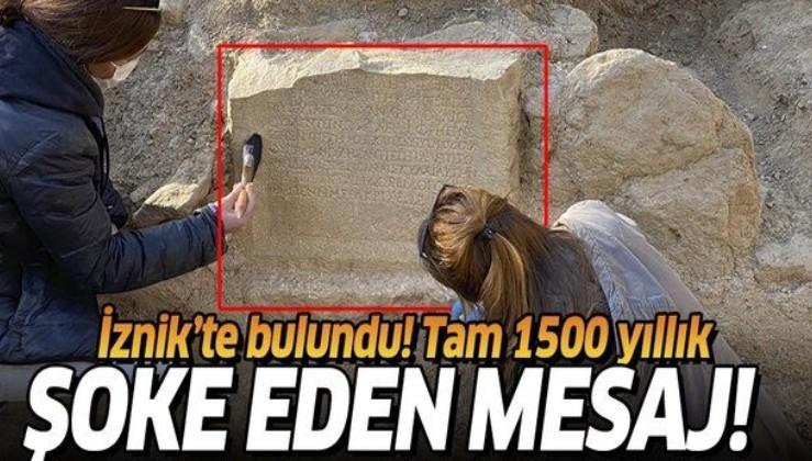 İznik'te Roma dönemine ait mezar taşı keşfedildi! Mezar taşı üzerinde dikkat çeken yazı