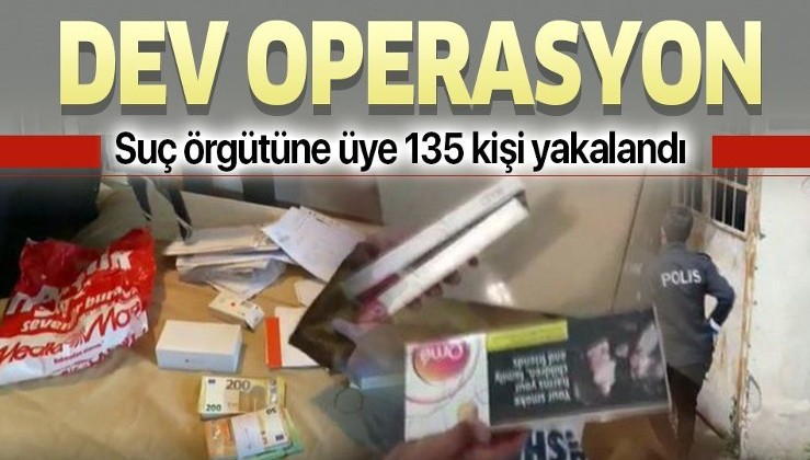 Kaçak sigara ve alkol örgütüne dev operasyon: 135 gözaltı, 4 milyonluk kaçak ürün ele geçirildi