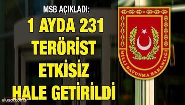MSB açıkladı: 1 ayda 231 terörist etkisiz hale getirildi
