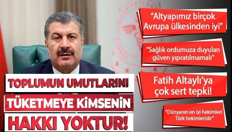 """Sağlık Bakanı Fahrettin Koca: """"Kimsenin toplumun umutlarını tüketecek yorum yapma hakkı yok"""""""
