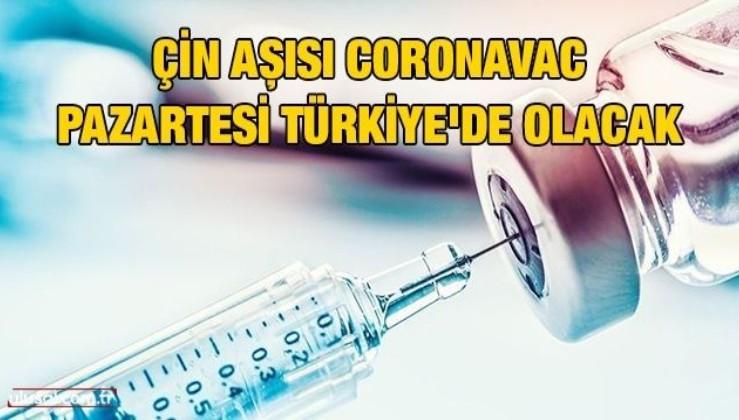 Çin aşısı Coronavac pazartesi Türkiye'de olacak