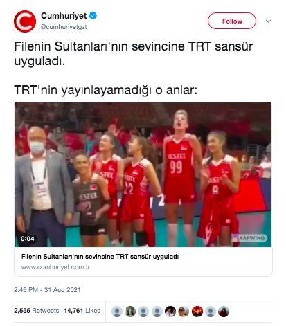 TRT'nin kadın milli voleybol maçı sonrası İzmir Marşı'nı kestiği iddiası