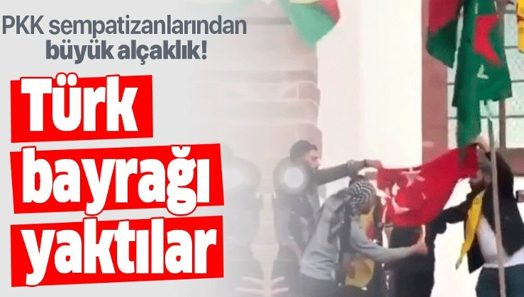 İsviçre'de PKK sempatizanları büyük alçaklığa imza attı! Türk bayrağı yaktılar