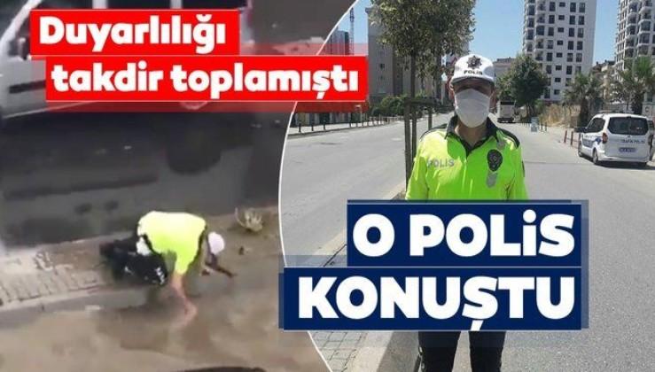 Pendik'te tıkanan rögarı eliyle açan polis konuştu
