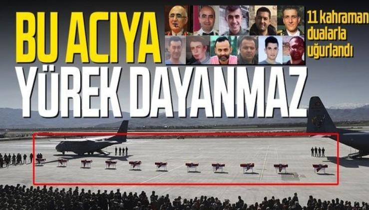 Bitlis'te meydana gelen helikopter kazasında şehit olan 11 asker için cenaze töreni