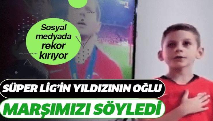 Süper ligin yıldız oyuncusu Adis Jahovic'in oğlu, İstiklal Marşımızı söyledi