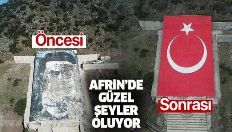 Terörist elebaşı Öcalan portresi yerine dev Türk bayrağı! Afrin'de dikkat çeken kare