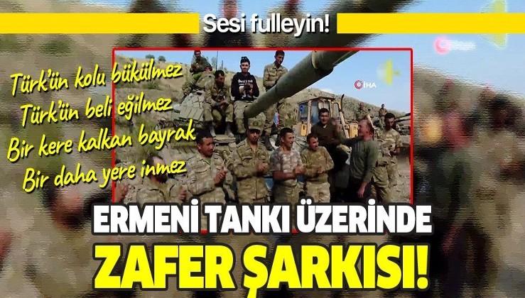 Azerbaycan askerlerinden Ermenistan tankının üzerinde zafer şarkısı!
