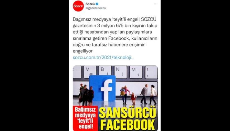 """Facebook, Sözcü Gazetesi'ni """"yalan üreten mecra"""" olarak niteledi."""