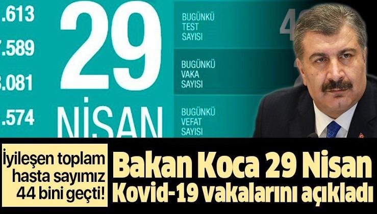 Son dakika: Bakan Koca 29 Nisan Kovid-19 vaka sayılarını açıkladı: