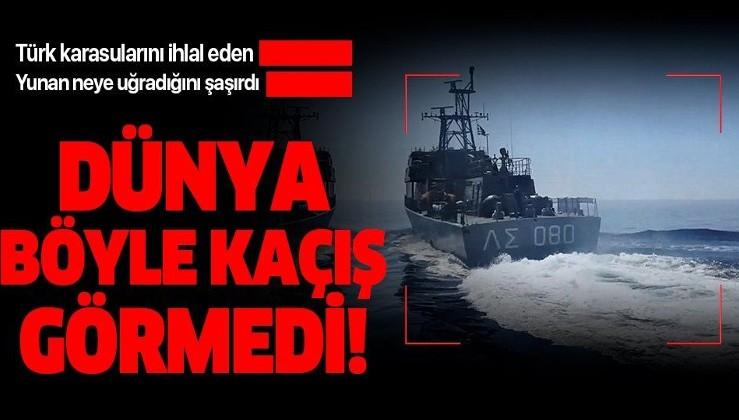 Türk karasularını ihlal eden Yunan botu Türk Sahil Güvenliği'ni görünce böyle kaçtı!