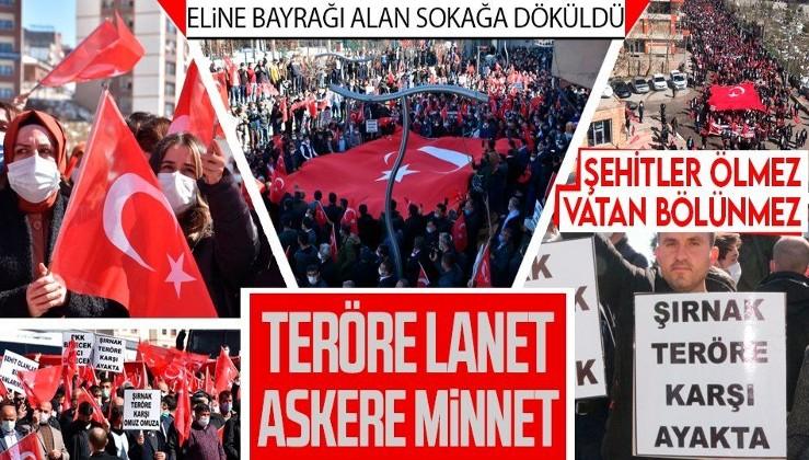 HALK AYAĞA KALKTI: Şırnak, PKK terörüne lanet etti! Onbinlerce kişi ellerinde bayraklarla sokağa döküldü: Şehitler ölmez, vatan bölünmez