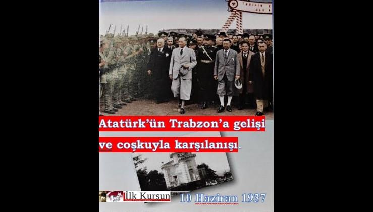Atatürk'ün, İzmir vapuru ile Trabzon'a gelişi ve coşkuyla karşılanışı.