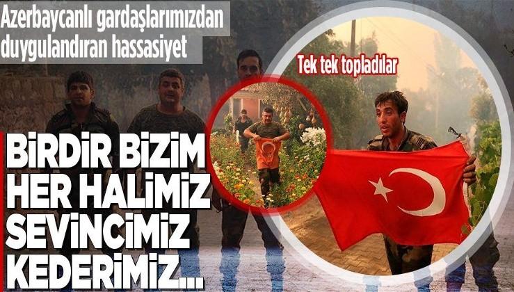 Yangın bölgesindeki Azerbaycanlı itfaiye erlerinin Türk bayrağı hassasiyeti: Tek tek toplayıp muhafaza altına aldılar