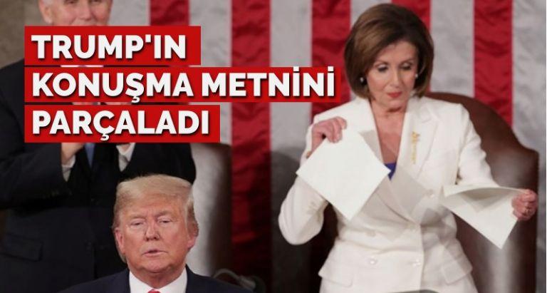 Meclis Başkanı Pelosi, Trump'ın konuşma metnini yırtıp attı!