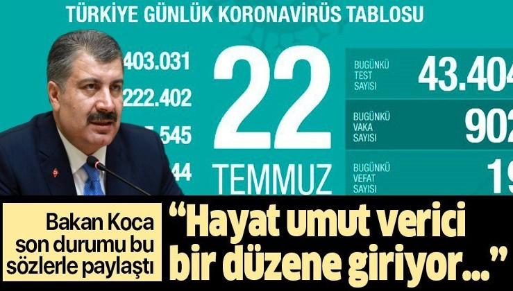 Son dakika: Sağlık Bakanı Fahrettin Koca 22 Temmuz koronavirüs tablosunu paylaştı