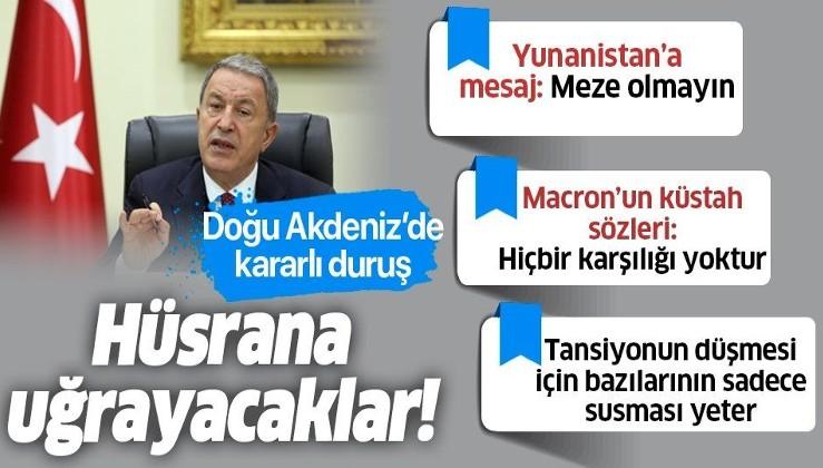Son dakika: Milli Savunma Bakanı Hulusi Akar'dan Doğu Akdeniz mesajı: Tarihte olduğu gibi bugün de hüsrana uğrayacaklar