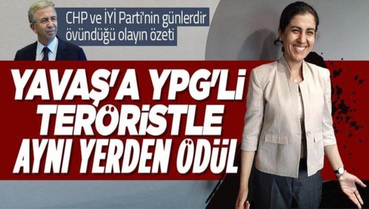 Ankara Büyükşehir Belediye Başkanı Mansur Yavaş'a YPG'li terörist Leila Mustapha ile aynı yerden ödül