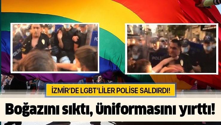 İzmir'de polise çirkin saldırı! LGBT destekçisi eylemciler Çevik Kuvvet amirinin üniforması yırttı