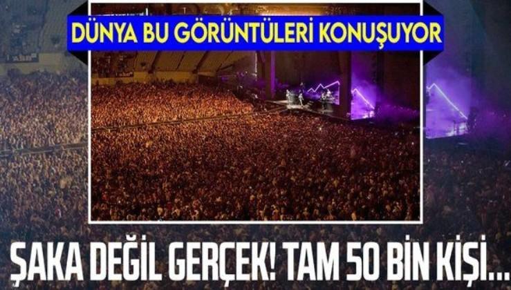 Şoke eden görüntü! Dünya koronavirüsle savaşırken o ülkede 50 bin kişilik konser!