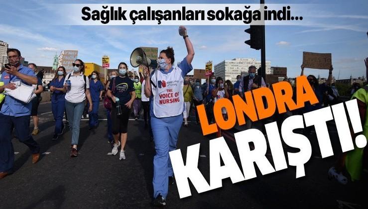 İngiliz sağlık çalışanları sokaklara döküldü! Zam talebiyle hükümete protesto...
