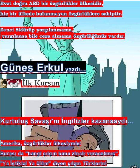 """Amerika, özgürlükler ülkesiymiş! Burası da """"hangi çılgın bana zincir vuracakmış"""", """"Ya İstiklal Ya ölüm"""" diyen çılgın Türklerin!"""
