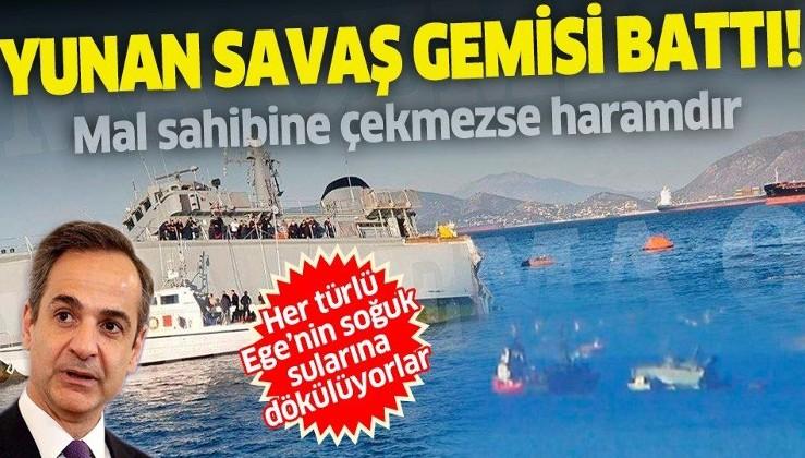SON DAKİKA: Ege'de Yunan'a şok: Savaş gemileri canlı yayında sulara gömüldü