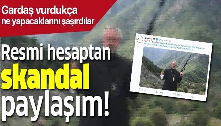 Ermenistan'dan bir küstah hareket daha! Resmi Twitter hesabından 'Silahlı papaz' paylaşımı