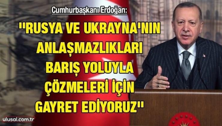 Cumhurbaşkanı Erdoğan: ''Rusya ve Ukrayna'nın anlaşmazlıkları barış yoluyla çözmeleri için gayret ediyoruz''