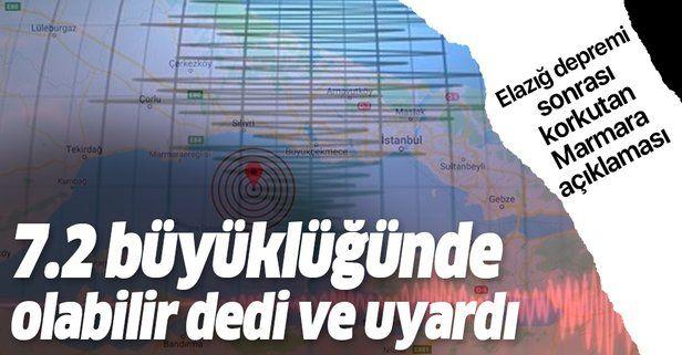 """Marmara depremi için korkutan açıklama: """"7.2 büyüklüğünde olacak ve tüm şehirleri etkileyecek""""."""