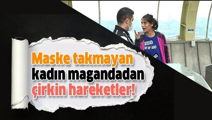 İstanbul'da, maskesiz metroya binmek isteyen kadın maganda ortalığı karıştırdı