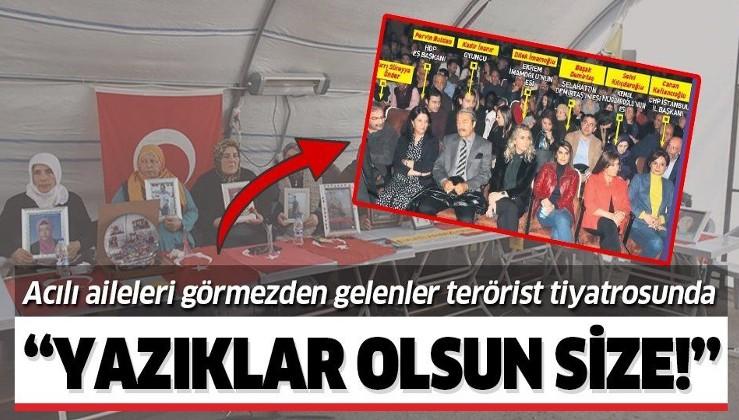 """Evlat nöbetindeki annelerden Demirtaş'ın tiyatrosuna gidenlere sert tepki: """"Yazıklar olsun size""""."""