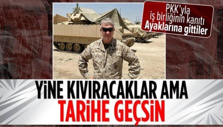 ABD'nin üst düzey komutanı General Frank McKenzie Suriye'de YPG'li teröristlerle görüştü poz verdi