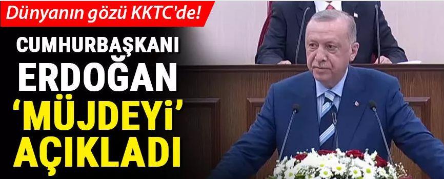 KKTC'ye tarihi ziyaret... Merakla bekleniyordu, Cumhurbaşkanı Erdoğan müjdeyi açıkladı