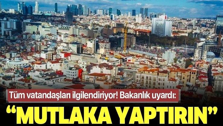 Son dakika: Çevre ve Şehircilik Bakanı Murat Kurum'dan riskli bina uyarısı