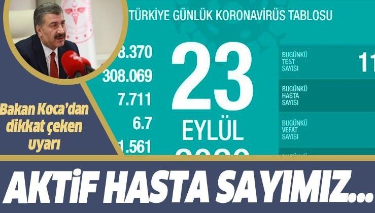 Son dakika: Koronavirüste son durum! Sağlık Bakanı Fahrettin Koca 23 Eylül koronavirüs vaka sayılarını açıkladı