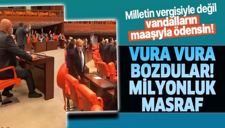 TBMM'deki elektronik ses ve oylama sistemi CHP ve HDP'li vekillerin vurmalı eylemleri nedeniyle bozuldu! Milyonlarca lira zarar