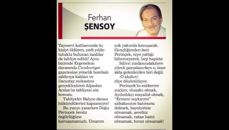 """Ferhan Şensoy: """"Doğu Perinçek Ergenekon'dan hapse girdi madem bana da görev düşüyor"""""""